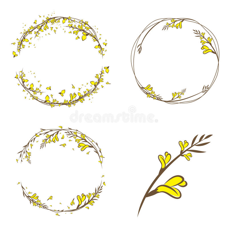 Σκουπών κίτρινο σύνολο πλαισίων λουλουδιών διακοσμητικό διανυσματική απεικόνιση