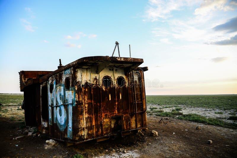 Σκουριασμένα υπολείμματα ενός σκάφους αλιείας στοκ φωτογραφία με δικαίωμα ελεύθερης χρήσης