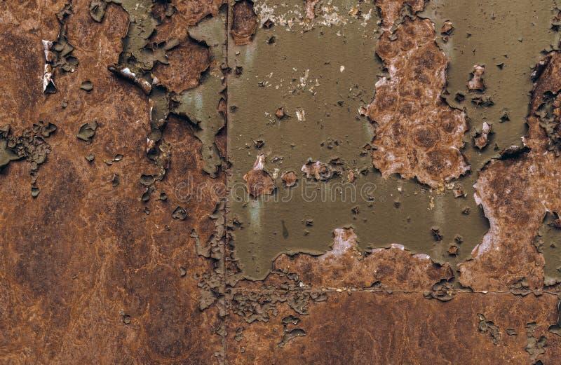 Σκουριασμένη καφετιά σύσταση σιδήρου, πράσινος παλαιός φράκτης με το χρώμα αποφλοίωσης Κατασκευασμένη ταπετσαρία για το σχέδιο διανυσματική απεικόνιση