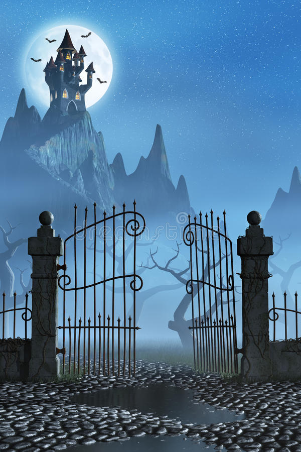 Σκουριασμένη πύλη και ένα απόκοσμο σκοτεινό κάστρο στοκ εικόνα