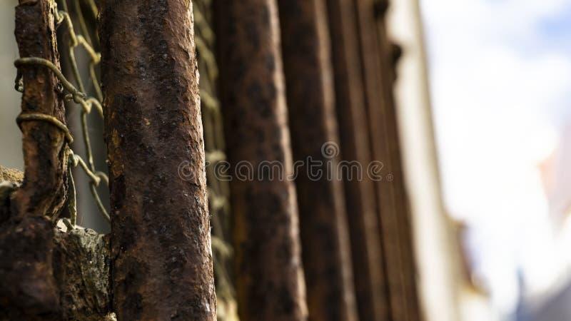 Σκουριασμένοι φραγμοί μιας φυλακής στοκ εικόνα