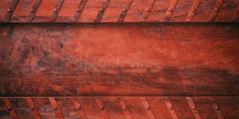 Σκουριασμένο κόκκινο μεταλλικό πιάτο με το υπόβαθρο μπουλονιών, έμβλημα τρισδιάστατη απεικόνιση διανυσματική απεικόνιση