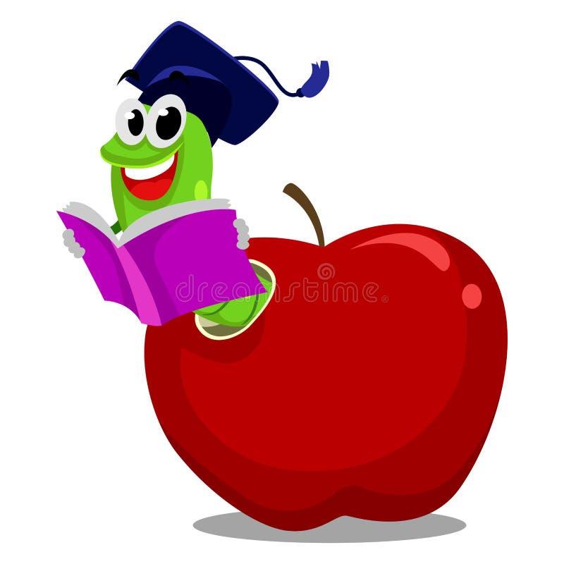 Σκουλήκι μέσα στη Apple που διαβάζει το βιβλίο που φορά το καπέλο βαθμολόγησης ελεύθερη απεικόνιση δικαιώματος