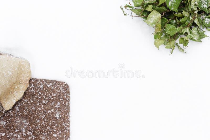 Σκούπα σημύδων και καπέλο αισθητός στο χιόνι στοκ εικόνες