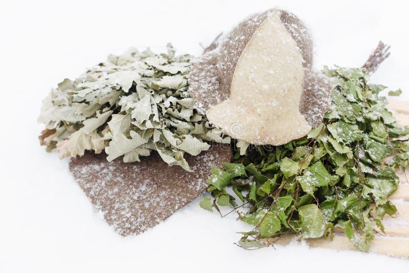 Σκούπα σημύδων και καπέλο αισθητός στο χιόνι στοκ εικόνα