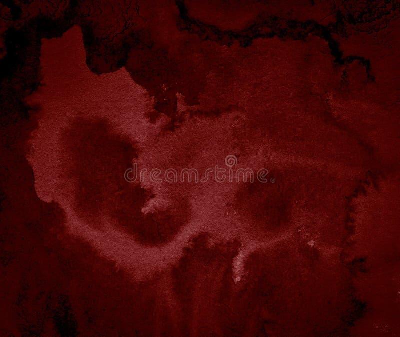 Σκούρο κόκκινο αφηρημένο υπόβαθρο watercolor, λεκές, παφλασμός του χρώματος, λεκές, διαζύγιο Ανησυχία, κόκκινη κλίση αίματος απεικόνιση αποθεμάτων