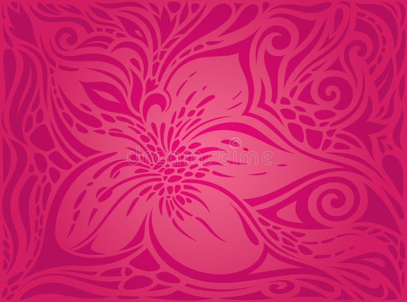 Σκούρο κόκκινο διακοσμητικά λουλούδια, floral περίκομψο διακοσμητικό διανυσματικό υπόβαθρο σχεδίου σχεδίων ελεύθερη απεικόνιση δικαιώματος
