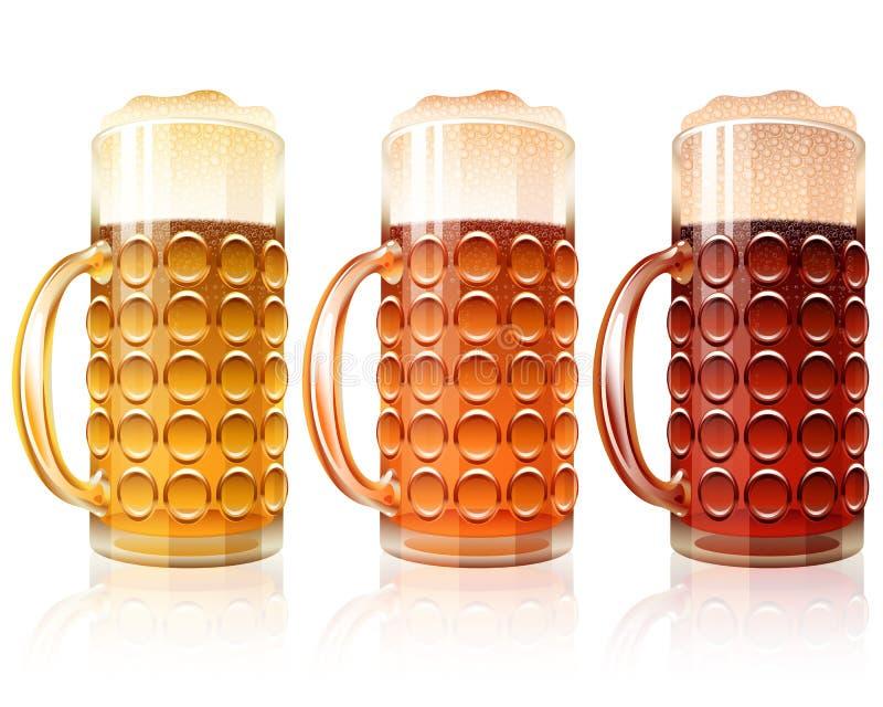 Σκούρο κόκκινο ελαφριές ποικιλίες ξανθού γερμανικού ζύού αχθοφόρων αφρού γυαλιού μπύρας καθορισμένες απεικόνιση αποθεμάτων