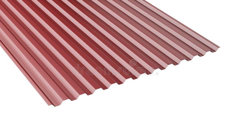 Σκούρο κόκκινο ζαρωμένος μέταλλο σωρός φύλλων στεγών - μπροστινή άποψη ελεύθερη απεικόνιση δικαιώματος