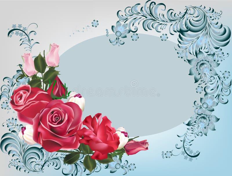 Σκούρο κόκκινο τριαντάφυλλα και αφηρημένα λουλούδια απεικόνιση αποθεμάτων