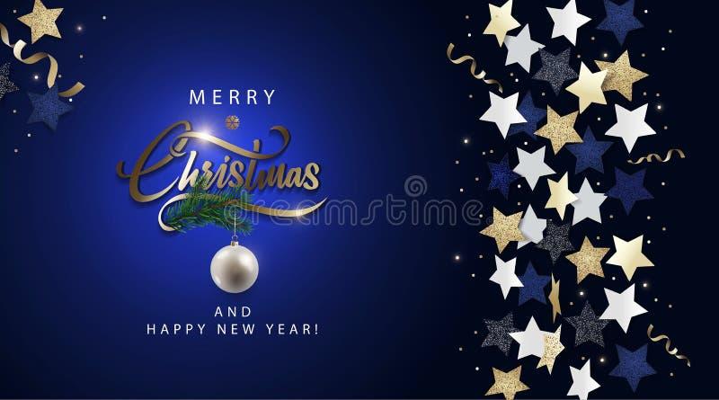 Σκούρο μπλε έμβλημα Χριστουγέννων με τη μεταλλική χρυσή εγγραφή, τα μπλε, χρυσά και άσπρα αστέρια, τη σφαίρα Χριστουγέννων, tinse απεικόνιση αποθεμάτων