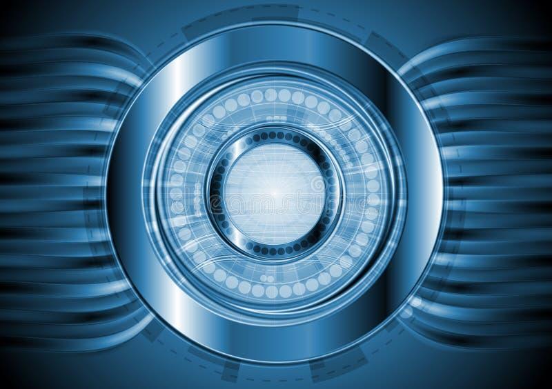 Σκούρο μπλε ανασκόπηση υψηλής τεχνολογίας. Διανυσματικό σχέδιο ελεύθερη απεικόνιση δικαιώματος