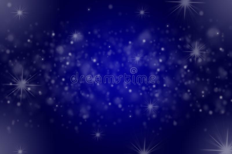 Σκούρο μπλε υπόβαθρο με τα μειωμένα και λαμπιρίζοντας αστράφτοντας αστέρια χιονιού απεικόνιση αποθεμάτων