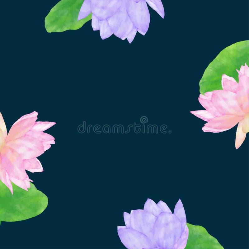 Σκούρο μπλε υπόβαθρο με το λωτό watercolor στοκ εικόνα με δικαίωμα ελεύθερης χρήσης