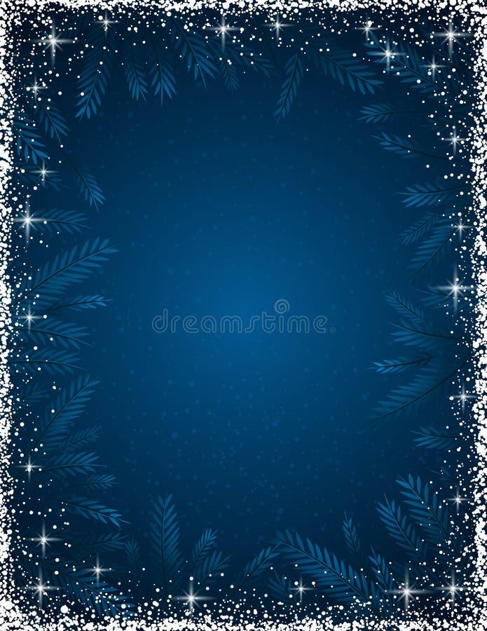 Σκούρο μπλε υπόβαθρο Χριστουγέννων με το άσπρο πλαίσιο του χιονιού, vecto ελεύθερη απεικόνιση δικαιώματος