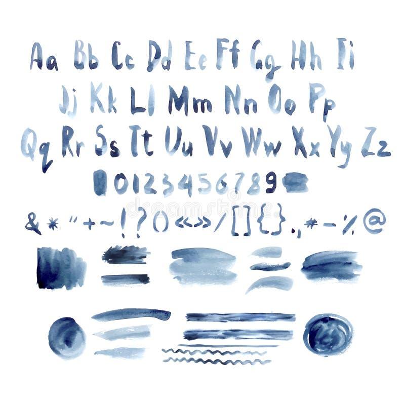 Σκούρο μπλε διανυσματικό αλφάβητο Watercolor, χέρι που σύρεται απεικόνιση αποθεμάτων