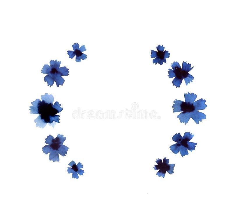Σκούρο μπλε στεφάνι cornflower που απομονώνεται στο άσπρο υπόβαθρο διανυσματική απεικόνιση