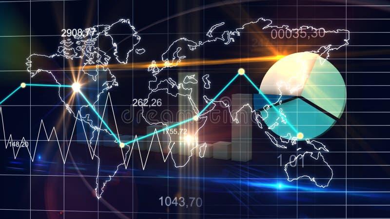 Σκούρο μπλε υπόβαθρο χρηματοδότησης γραφικών παραστάσεων στοιχείων στατιστικής παγκόσμιων χαρτών τρισδιάστατο απεικόνιση αποθεμάτων