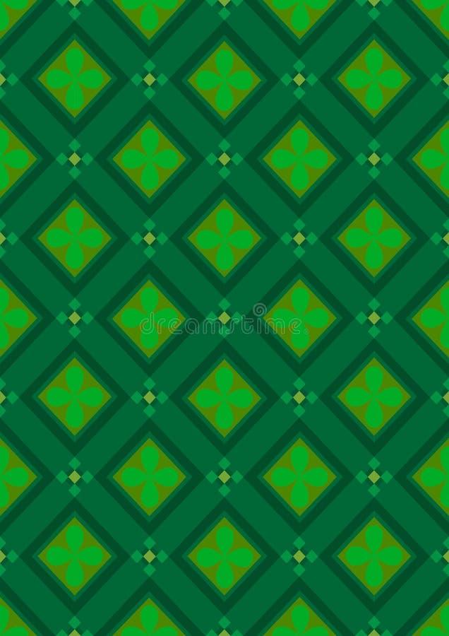 Σκούρο πράσινο άνευ ραφής υπόβαθρο με τις πράσινες σκιές rhombuses απεικόνιση αποθεμάτων