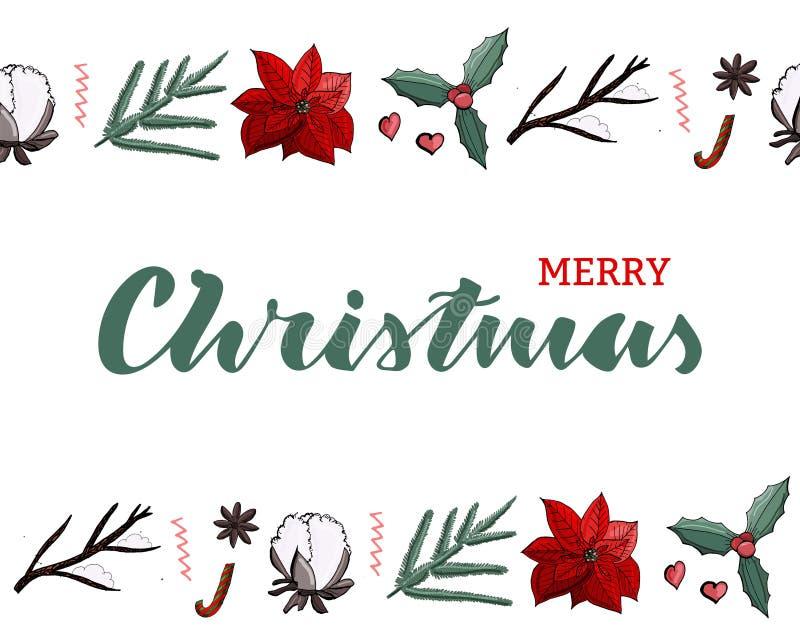 Σκούρο πράσινο γράφοντας κάρτα Χαρούμενα Χριστούγεννας με τα ατελείωτα σύνορα με το poinsettia διακοσμήσεων, βαμβάκι, omela, έλατ ελεύθερη απεικόνιση δικαιώματος