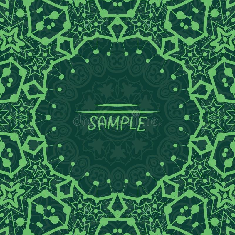 Σκούρο πράσινο floral διακοσμητικό πλαίσιο με την περίληψη απεικόνιση αποθεμάτων