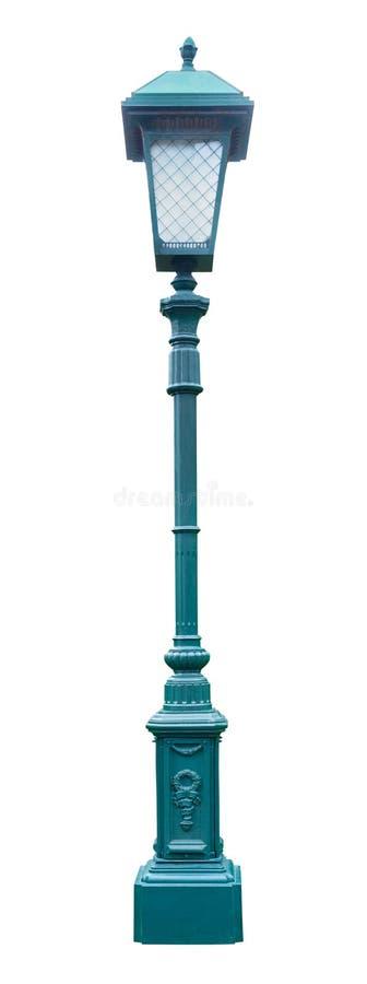 Σκούρο πράσινο lamppost, που απομονώνεται σε ένα άσπρο υπόβαθρο στοκ εικόνα