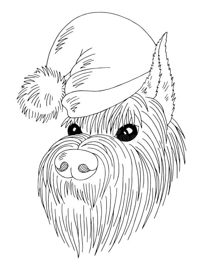 Σκυλί ένα πρόσωπο schnauzer σε ένα νέο έτους διάνυσμα απεικόνισης σκίτσων καπέλων γραφικό μαύρο απομονωμένο λευκό απεικόνιση αποθεμάτων