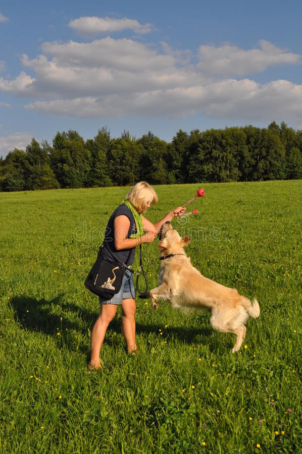 σκυλί η παίζοντας γυναίκ&alp στοκ φωτογραφία