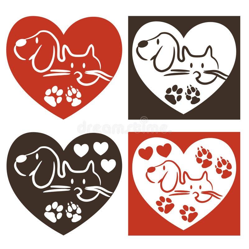 Σκυλί και γάτα - λογότυπο αγάπης ελεύθερη απεικόνιση δικαιώματος