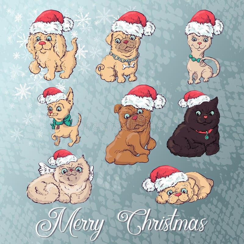 Σκυλί και γάτα στο καπέλο Χριστουγέννων Διανυσματικό νέο σύνολο έτους κινούμενων σχεδίων διανυσματική απεικόνιση