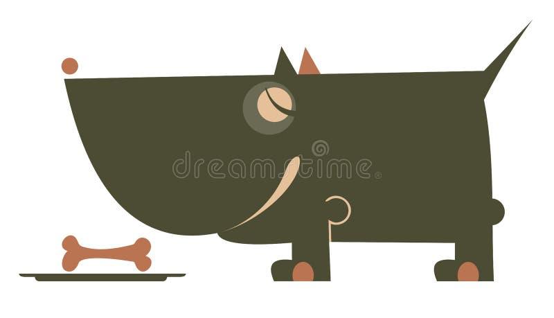 Σκυλί, κύπελλο και απομονωμένη κόκκαλο απεικόνιση απεικόνιση αποθεμάτων