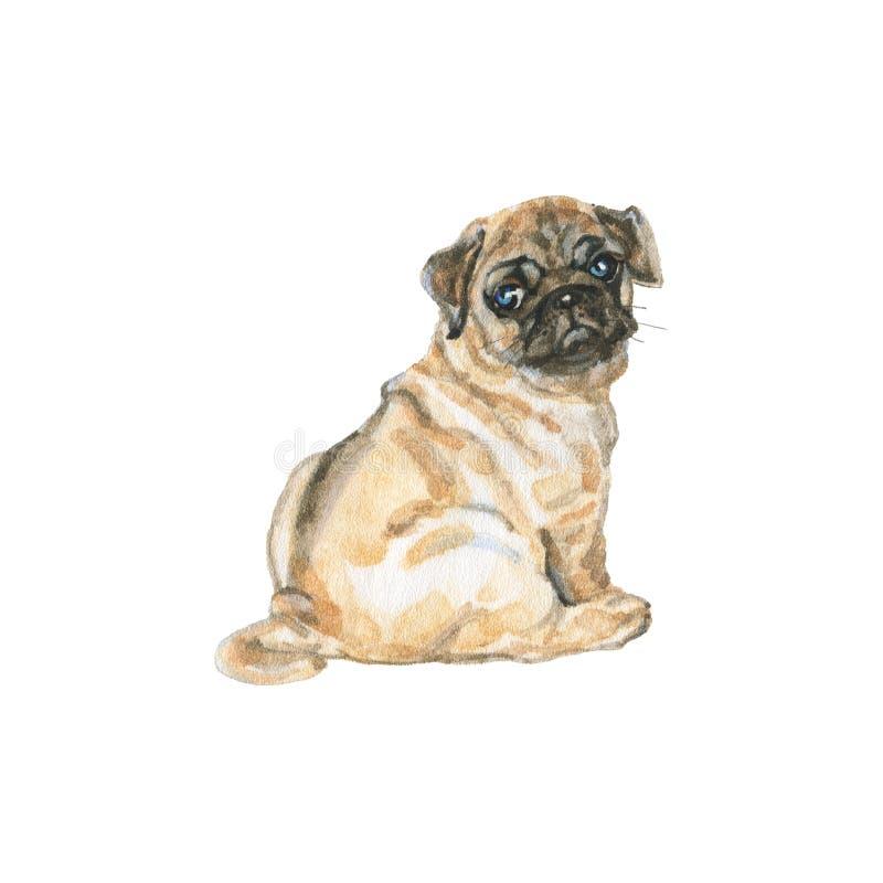 Σκυλί μαλαγμένου πηλού Watercolor ελεύθερη απεικόνιση δικαιώματος