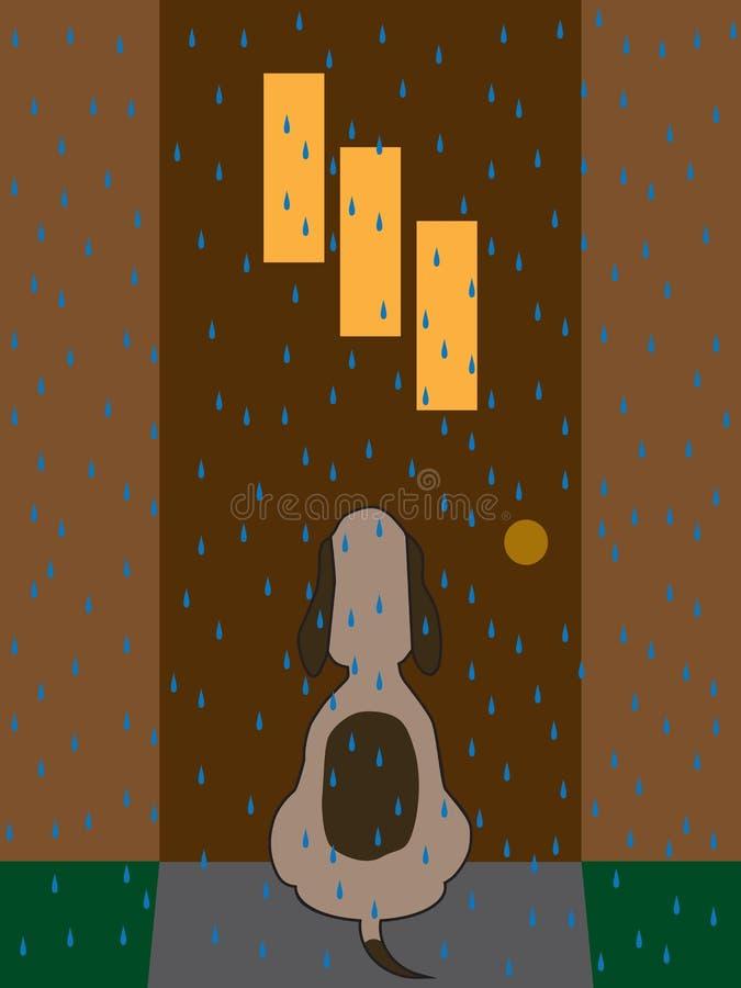 Σκυλί στη βροχή διανυσματική απεικόνιση