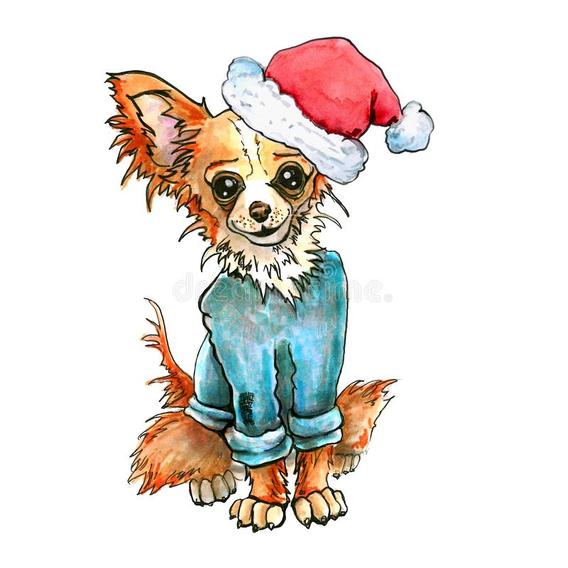 Σκυλί Chihuahua στο καπέλο Άγιου Βασίλη Κουτάβι Χριστουγέννων αγύρτης που απομονώνεται στο άσπρο υπόβαθρο νέο έτος διανυσματική απεικόνιση