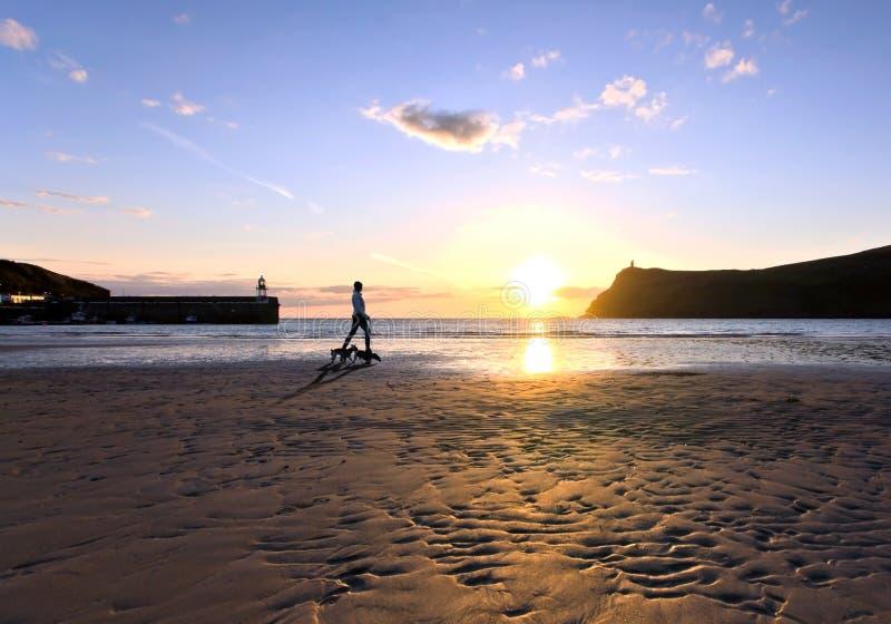 Σκυλιά περπατήματος γυναικών σε μια παραλία κατά τη διάρκεια του ηλιοβασιλέματος στοκ φωτογραφία