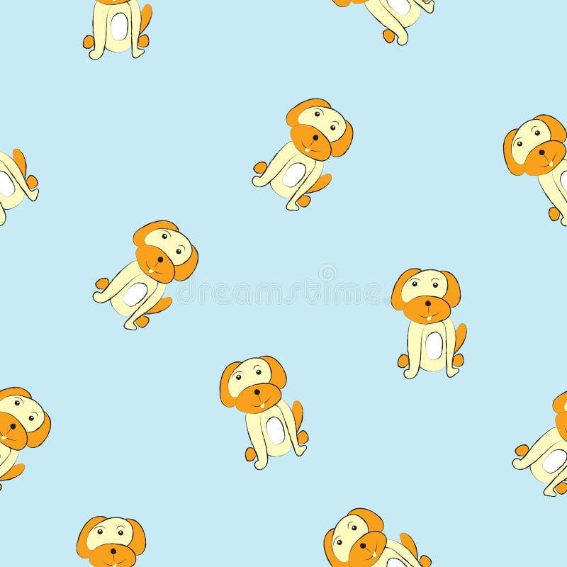 Σκυλιά στο μπλε υπόβαθρο, άνευ ραφής εικόνα σχεδίων διανυσματική απεικόνιση