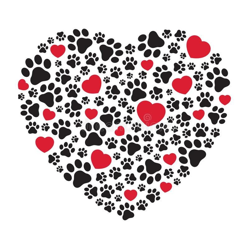 Σκυλιών ποδιών διανυσματικός καρδιών εικονιδίων βαλεντίνων λογότυπων απλός γραφικός απεικόνισης κινούμενων σχεδίων κατοικίδιων ζώ διανυσματική απεικόνιση