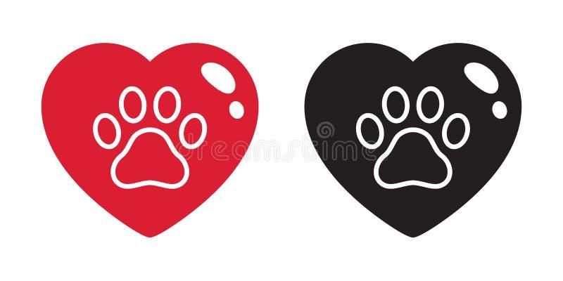 Σκυλιών ποδιών διανυσματικός καρδιών εικονιδίων λογότυπων βαλεντίνων γραφικός απλός τέχνης συνδετήρων απεικόνισης κινούμενων σχεδ διανυσματική απεικόνιση
