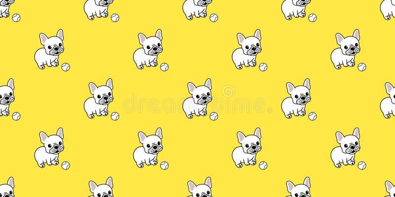 Σκυλιών το άνευ ραφής μπέιζ-μπώλ μπουλντόγκ σχεδίων διανυσματικό γαλλικό επαναλαμβάνει την ταπετσαρία κινούμενων σχεδίων κεραμιδι ελεύθερη απεικόνιση δικαιώματος
