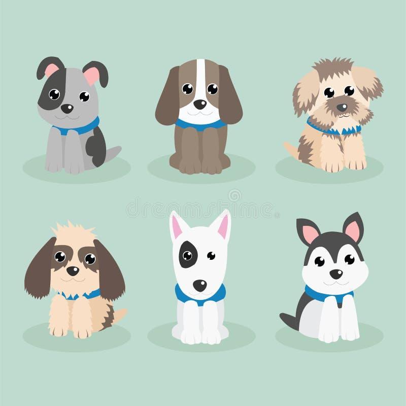 Σκυλιών χαριτωμένο κινούμενων σχεδίων σχέδιο κινούμενων σχεδίων σχεδίου διανυσματικό διανυσματική απεικόνιση
