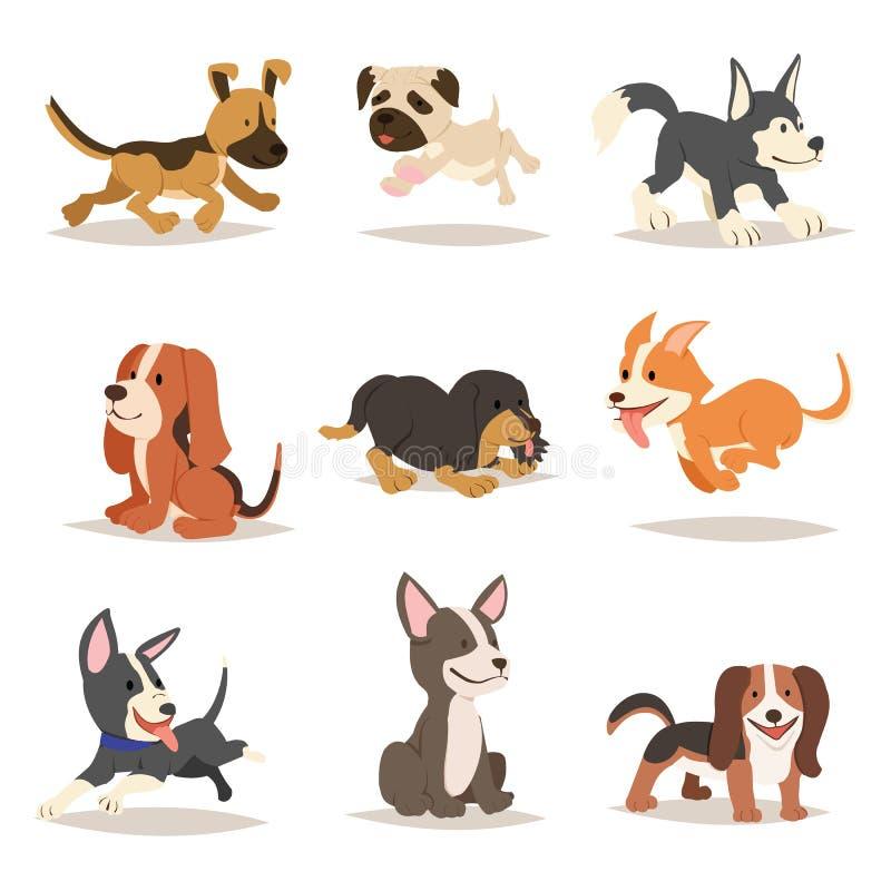 Σκυλιών χαριτωμένο κινούμενων σχεδίων σχέδιο κινούμενων σχεδίων σχεδίου διανυσματικό ελεύθερη απεικόνιση δικαιώματος