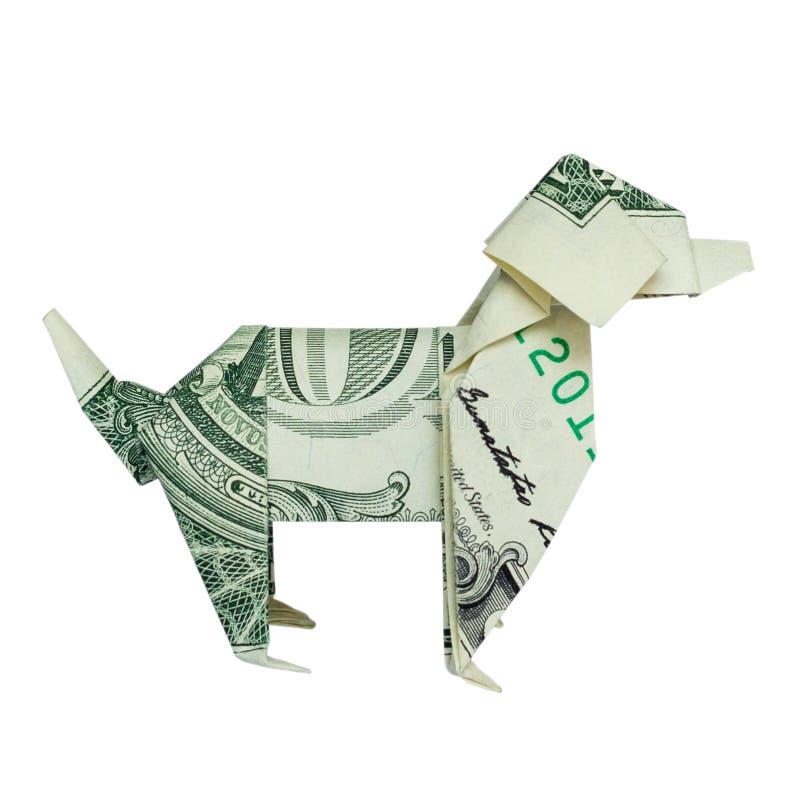 ΣΚΥΛΙ δεξιά πλευρών Origami στο σχεδιάγραμμα που διπλώνεται με πραγματικό το δολάριο Μπιλ στοκ φωτογραφία με δικαίωμα ελεύθερης χρήσης