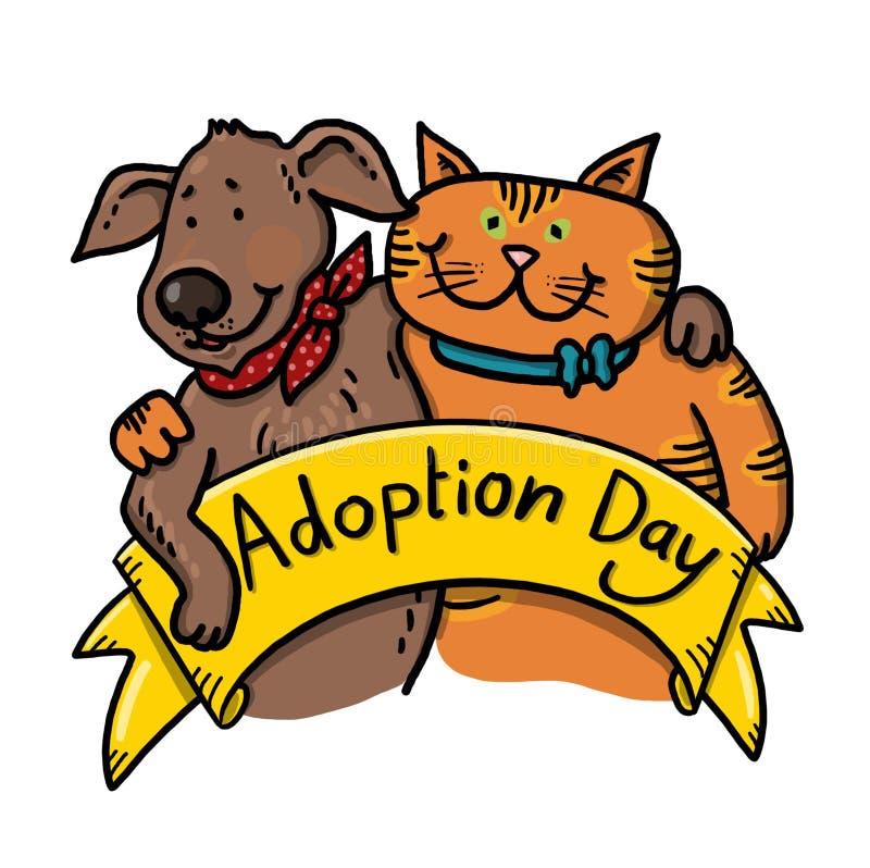 Σκυλί και γάτα για την απεικόνιση υιοθέτησης διανυσματική απεικόνιση