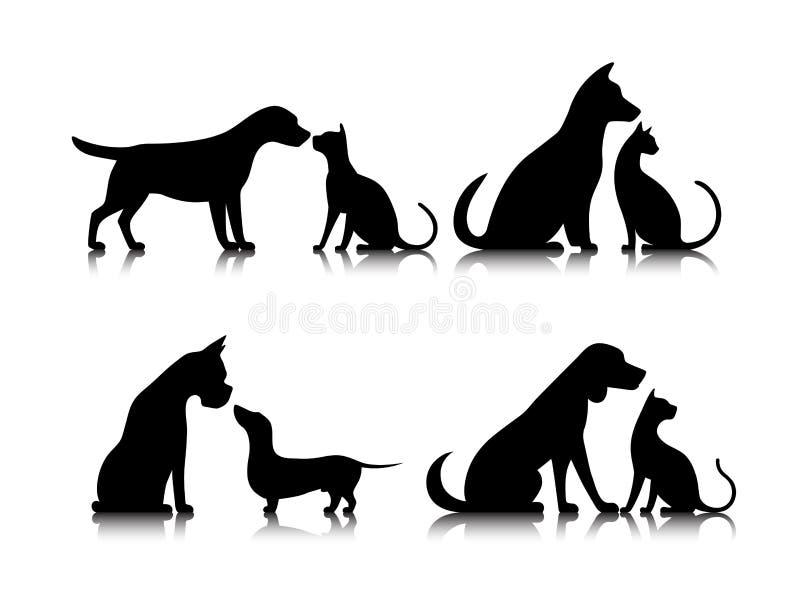 Σκυλί και γάτα εικονιδίων ελεύθερη απεικόνιση δικαιώματος
