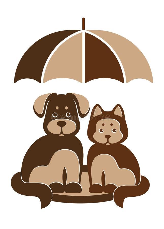 Σκυλί και γάτα κάτω από την ομπρέλα απεικόνιση αποθεμάτων
