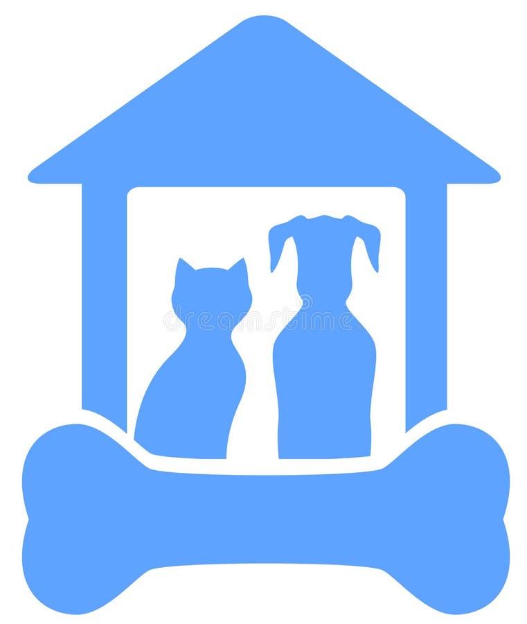 Σκυλί και γάτα στο σπίτι με τη σκιαγραφία κόκκαλων απεικόνιση αποθεμάτων