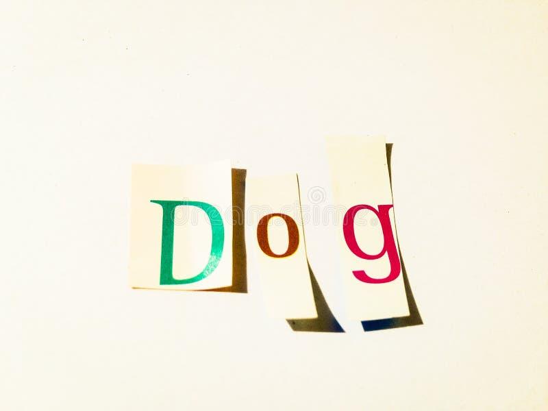 Σκυλί - κολάζ λέξεων διακοπής των μικτών επιστολών περιοδικών με το άσπρο υπόβαθρο στοκ φωτογραφίες