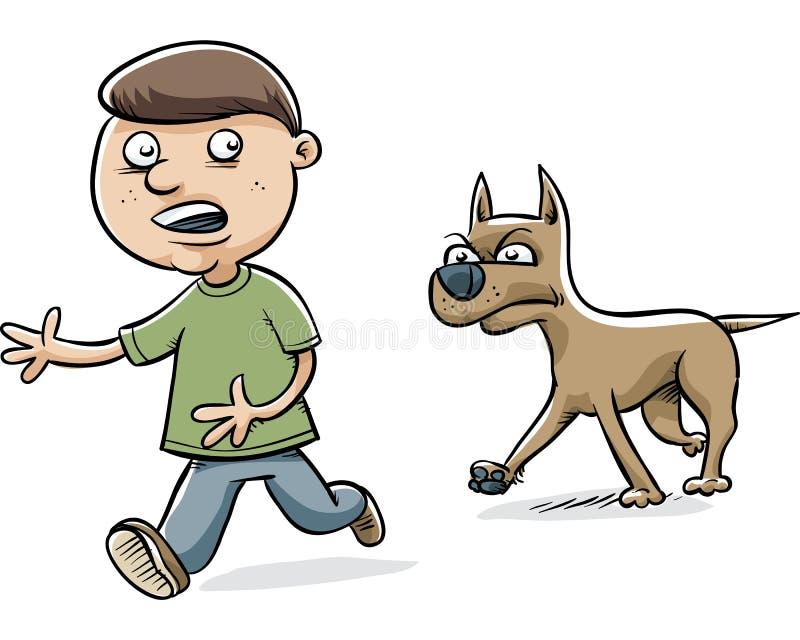 Σκυλί που χαράζει το αγόρι απεικόνιση αποθεμάτων