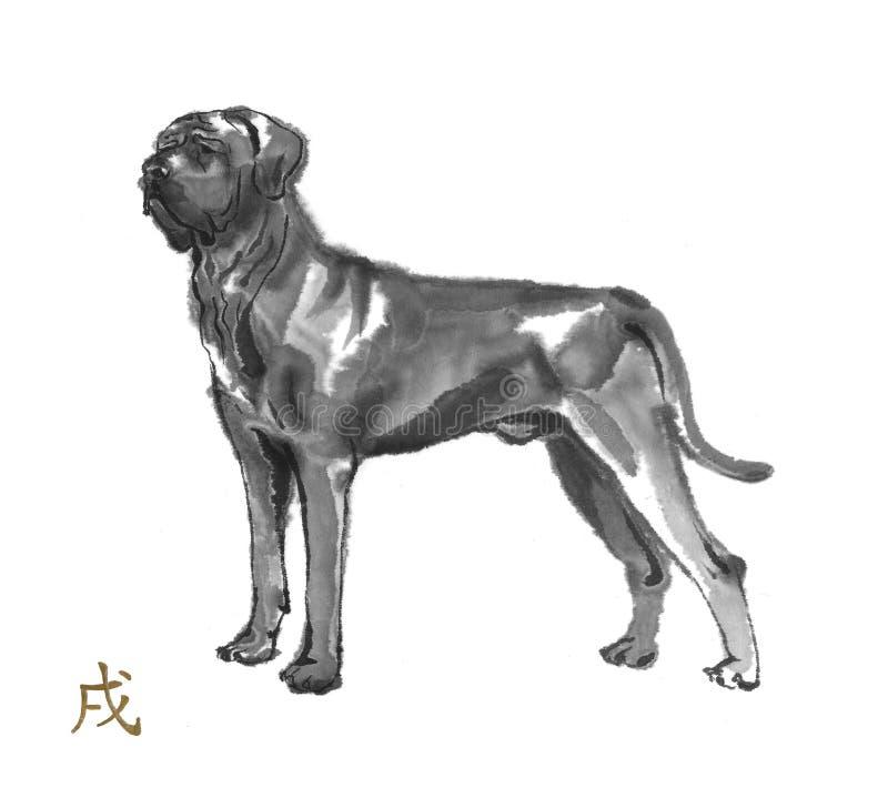 Σκυλί sumi-ε διανυσματική απεικόνιση