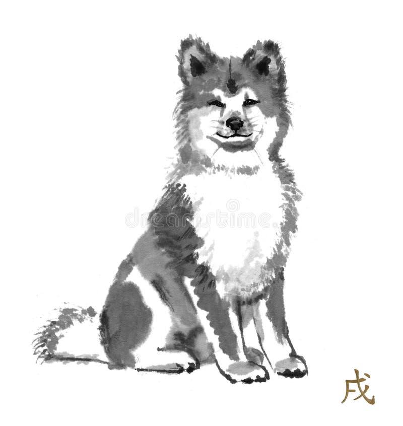 Σκυλί sumi-ε απεικόνιση αποθεμάτων